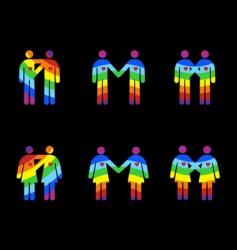 Gay couples pictograms vector
