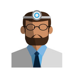 Male medical doctor with light on head icon image vector