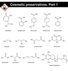 Molecular structures of main cosmetic preservative vector image
