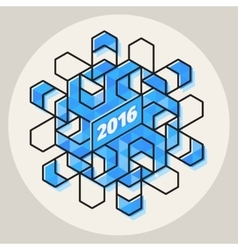 New Year 2016 Geometric Blue Snowflake vector image