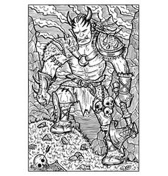 Orc troll or goblin engraved fantasy vector