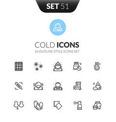 Outline black icons set thin modern design style vector