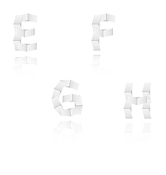 paper alphabet letters font E F G H vector image vector image