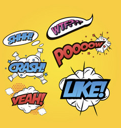 pop art word inscriptions set isolated on yellow vector image vector image
