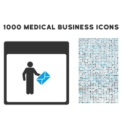 Postman calendar page icon with 1000 medical vector