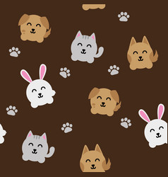 round animals pattern vector image vector image