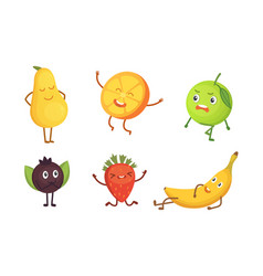 set of cute cartoon fruit with funny vector image