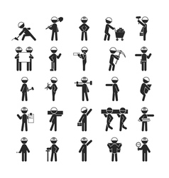 Set of industrial contractors workers people vector