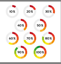 Set of ten color percentage indicators vector