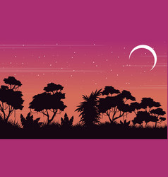 silhouette jungle scenery at night vector image vector image