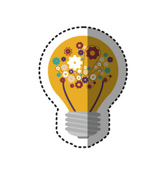 Sticker light bulb with filaments and gear wheel vector