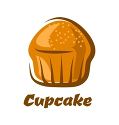 Traditional brown cupcake isolated on white vector image