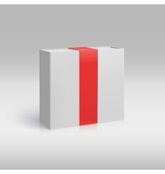 Vertical box with red ribbon vector image vector image
