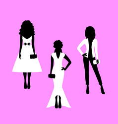 Woman model silhouettes set vector