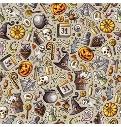 Cartoon cute hand drawn halloween seamless pattern vector