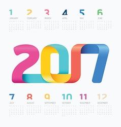 2017 calendar colorful ribbon concept vector