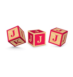 Letter j wooden alphabet blocks vector