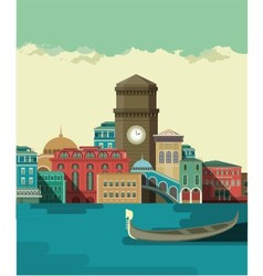 City on the river bank vector