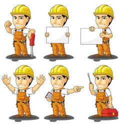 Industrial construction worker mascot vector