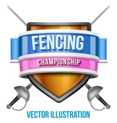Label for fencing sport competition bright premium vector