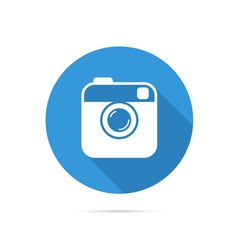 Hipster photo or camera flat icon with long shadow vector
