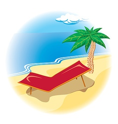 Tropical coast with deck chair vector