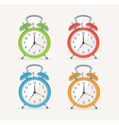 wakeup clocks set Flat Design vector image