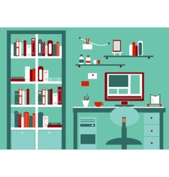 Home workplace flat design cabinet with vector