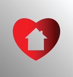 Heart with house vector