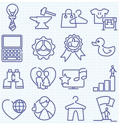 Universal thin line icons mix vector
