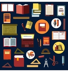 Education flat icons with school supplies vector