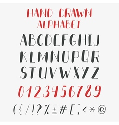 Hand drawn alphabet and numbers abc letters vector
