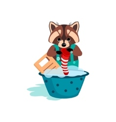 Raccoon washes clothes on the washboard vector