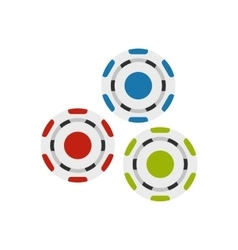 Red blue and green casino tokens flat icon vector