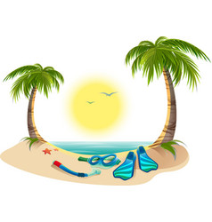 Summer holidays at sea palm trees sun flippers vector