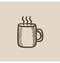 Mug of hot drink sketch icon vector