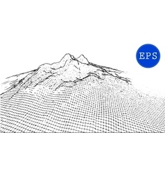 Abstract mountain cyberspace grid vector