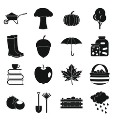 Autumn icons set simple ctyle vector