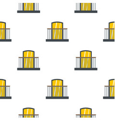 Balcony with iron railing i pattern flat vector