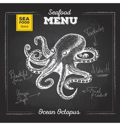 Chalk drawing sketch set of seafood ocopus vector