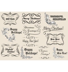 Christmas and New Year calligraphic headlines vector image