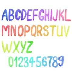 Colorful watercolor font aquarelle vector image
