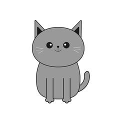 Cute gray cartoon cat mustache whisker funny vector