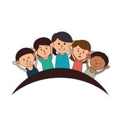 Cute kids group icon vector