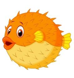 Cute puffer fish cartoon vector