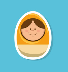 egg with face toy vector image vector image