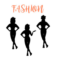 fashion woman silhouette in different poses vector image vector image