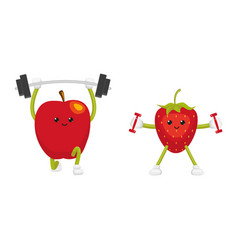 Funny apple and strawberry characters working out vector