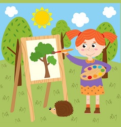 Girl draws on canvas in the forest vector