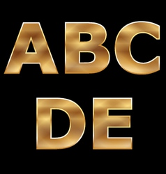 Gold Letters Set A-E vector image
